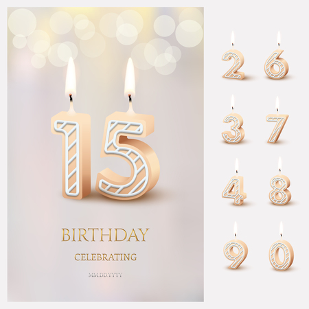 Burning number 15 birthday candles with birthday celebration text on light blurred background and burning birthday candle set for other dates. Vector vertical birthday invitation template Ilustracja