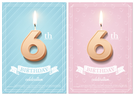 Burning number 6 birthday candle with vintage ribbon and birthday celebration text on textured blue and pink backgrounds in postcard format. Vector vertical sixth birthday invitation templates
