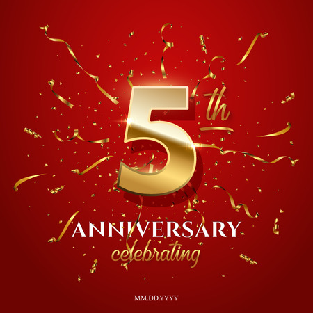 5 golden number and Anniversary Celebrating text with golden serpentine and confetti on red background. Vector fifth anniversary celebration event square template. Illustration