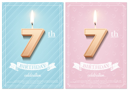 Burning number 7 birthday candle with vintage ribbon and birthday celebration text on textured blue and pink backgrounds in postcard format. Vector vertical seventh birthday invitation templates