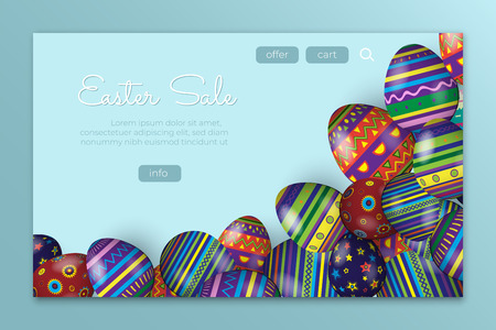 Easter sale landing page concept. Vector illustration with Easter colored eggs