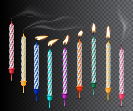 Birthday candles with fire ans smoke realistic vector color illustration on transparent background. Festive backdrop for design and text. Holiday banner, poster, greeting card, invitation background idea