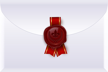 Envelope with seal and ribbon realistic vector color illustration. Royal letter, message, invitation. 3d handmade wax seal with logo. Correspondence with circle stamp. Greeting card idea