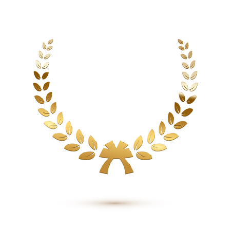 Golden shiny laurel wreath isolated on white background. Vector design element