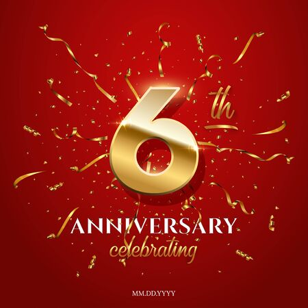 6 golden number and Anniversary Celebrating text with golden serpentine and confetti on red background. Vector sixth anniversary celebration event square template. Illusztráció