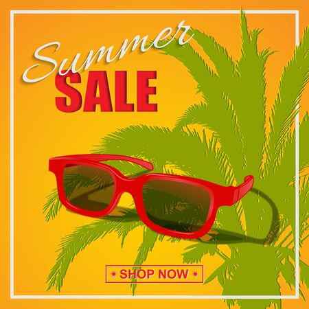 Summer sale poster. Vector red sunglasses with summer sale text on sunny background. Archivio Fotografico - 129799956