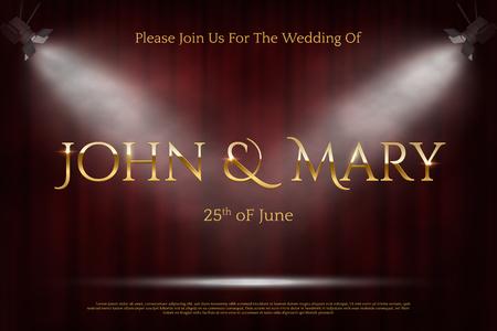 Wedding invitation card color vector template