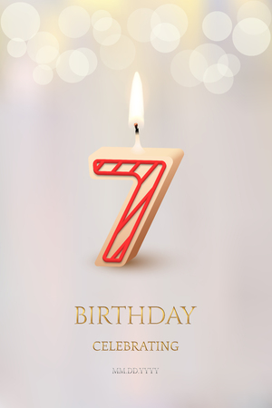 Burning number 7 birthday candle with birthday celebration text on light blurred background. Vector seventh birthday invitation template. Иллюстрация