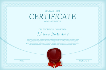 Certificate of appreciation color vector template