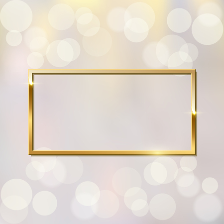 Shiny sparkling golden rectangle frame vector illustration. Glossy, glowing rendering effect. Present for engagement, Valentine s Day. Jewelry boutique, gift shop, store. Wedding, marriage proposal poster idea Ilustracja