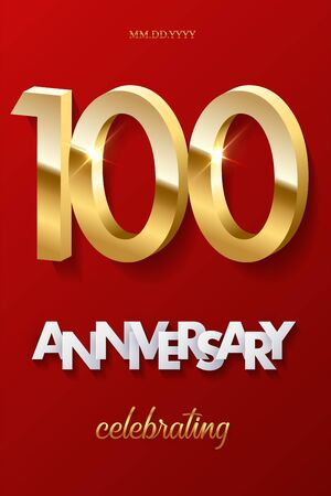 100 golden numbers and Anniversary Celebrating text on red background. Vector vertical hundredth anniversary celebration event invitation template. Illusztráció