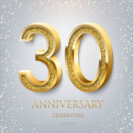 30th Anniversary Celebrating golden text and confetti on light blue background. Vector celebration 30 anniversary event template.