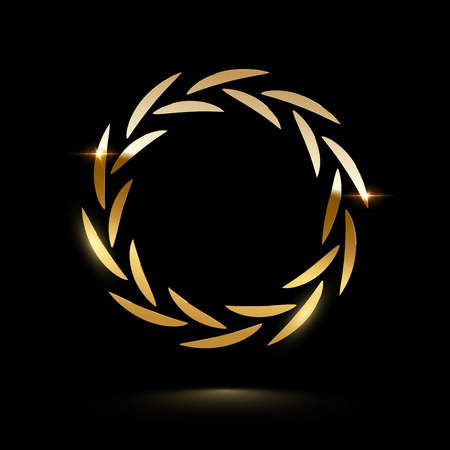 Golden shiny laurel wreath isolated on black background. Vector design element