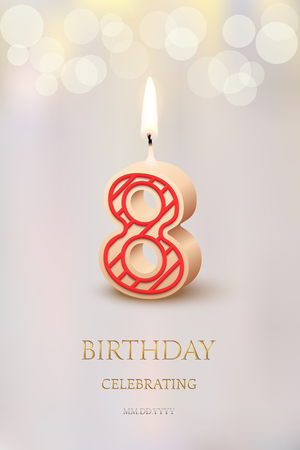 Burning number 8 birthday candle with birthday celebration text on light blurred background. Vector eighth birthday invitation template.