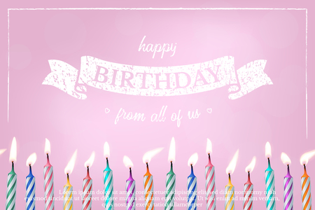 Birthday pink greeting card vector template. 3d realistic cake candles with bokeh lights background. Happy birthday from all of us calligraphy. Holiday banner, poster, invitation design idea with text Ilustracja