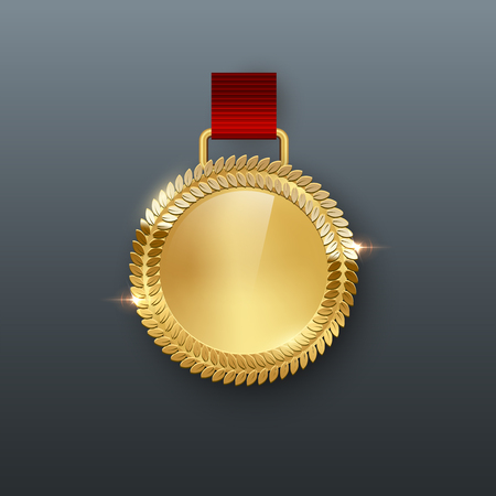 Award medal with ribbon 3d realistic illustration. Reward. First place golden medal with laurel leaves. Certified. Quality blank, empty badge, emblem with red ribbon. Winner s trophy. Isolated design element Ilustracja