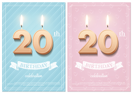 Burning number 20 birthday candles with vintage ribbon and birthday celebration text on textured blue and pink backgrounds in postcard format. Vector vertical twentieth birthday invitation templates