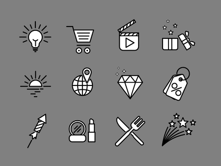 Website buttons linear vector icons set. Shopping, social media, blogging symbols. Online store contour illustrations. Shopping cart, mirror, lipstick outline cliparts. Shooting star, rocket drawing Ilustracja
