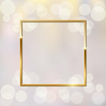 Shiny sparkling golden square on blurred background vector illustration