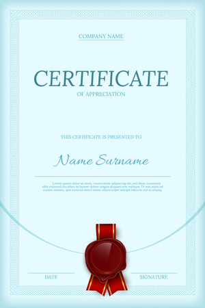 Certificate of appreciation vertical color vector template Ilustração