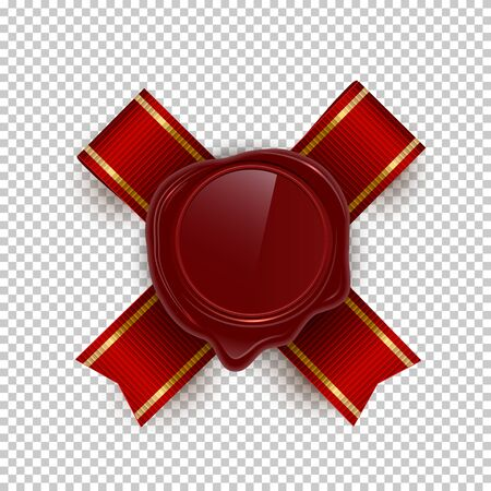 Red wax rero seal color vector illustrations on transparent background