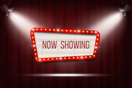 Vector retro bioscoop aankondigingsbord met lamp frame op rode gordijnen achtergrond met spotlichten. Vector Illustratie