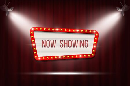 Vector retro cinema announcement board with bulb frame on red curtains background with spot lights. Vektorgrafik