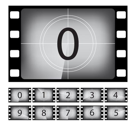 Oude film countdown frame vector illustraties set. Retro, vintage cinematografie. Zwart-wit stomme film. Getallen in filmstrip grens geïsoleerd ontwerpelement. Bioscoop, amusement