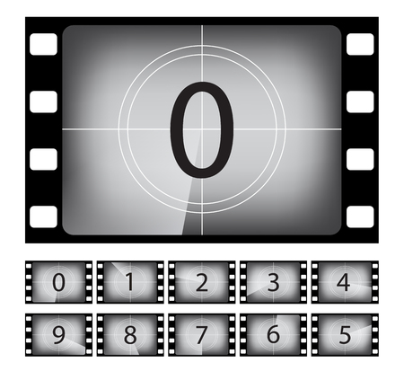 Old movie countdown frame vector illustrations set. Retro, vintage cinematography. Black and white silent film. Numbers in film strip border isolated design element. Cinema, entertainment