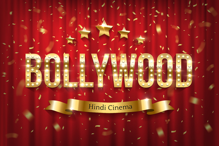Bollywood indian cinema vector banner with text. Vintage cinematography and theater flat poster. Film festival. Golden sparkling glitter rain. Shiny sign with lights on red curtain backdrop