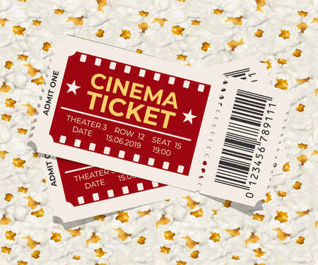 Two cinema tickets on popcorn background vector illustration