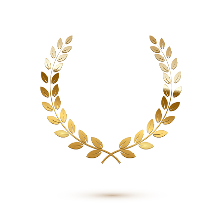Golden shiny laurel wreath isolated on white background. Vector design element. Ilustração