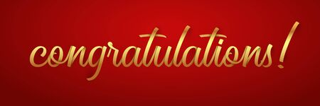 Congratulations lettering vector color illustration on red background