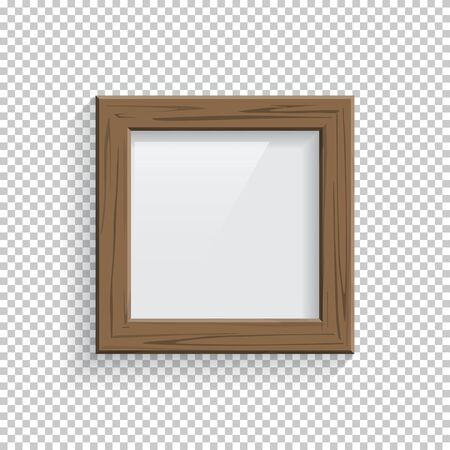 Square wooden picture or photo frame isolated on transparent background. Vector design element.