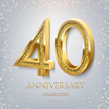 40th Anniversary Celebrating golden text and confetti on light blue background. Vector celebration 40 anniversary event template. Ilustração