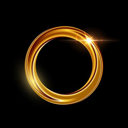 Golden shining circle text frame illustration