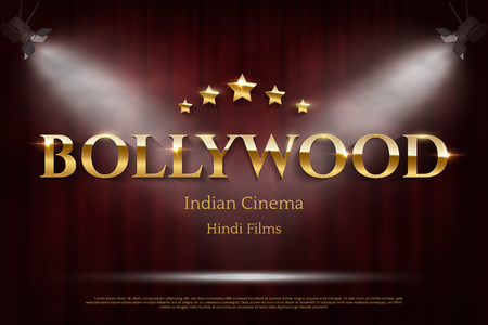 Bollywood indian cinema vector banner with text
