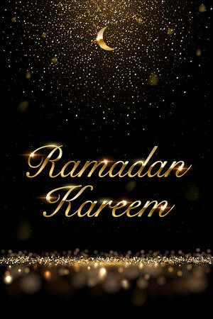 Ramadan Kareem vector background. Golden moon and text with sparkling golden glitter on dark background.