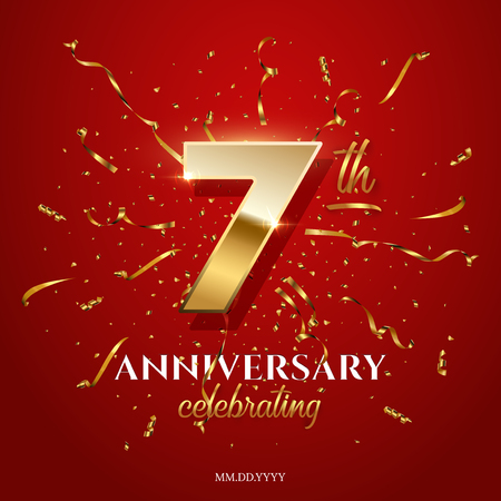 7 golden number and Anniversary Celebrating text with golden serpentine and confetti on red background. Vector seventh anniversary celebration event square template.