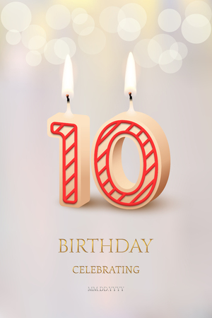 Burning number 10 birthday candles with birthday celebration text on light blurred background. Vector tenth birthday invitation template.