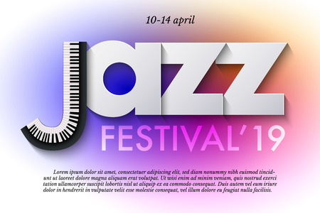 Jazz music festival poster template. Keyboard and paper letters on colorful background. Vector flyer or banner design