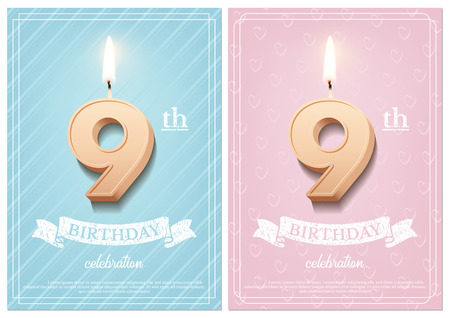 Burning number 9 birthday candle with vintage ribbon and birthday celebration text on textured blue and pink backgrounds in postcard format. Vector vertical ninth birthday invitation templates. Ilustracja