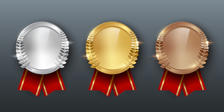 Award golden, silver and bronze blank medals with ribbon 3d realistic illustration. First, second and third place medals with laurel leaves. Quality blank, empty badge, emblem with red ribbons.