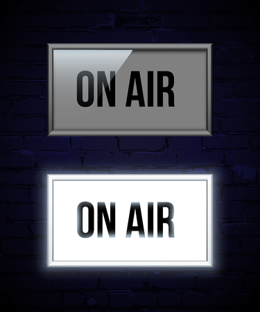 On air switched off and glowing sign color vector illustration. Live show banner. News, radio and television broadcast. Shiny neon light box on red curtain backdrop. Record studio. Classic theater background