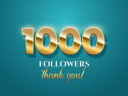 1000 followers celebration vector banner with text. Social media achievement poster. 1k followers thank you lettering. Azure template. Shiny gratitude text on red gradient backdrop