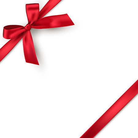 Red realistic gift bow with ribbon isolated on white background. Vector holiday design element for banner, greeting card or poster Vektorové ilustrace