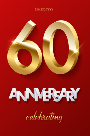 60 golden numbers and Anniversary Celebrating text on red background. Vector vertical sixtieth anniversary celebration event invitation template.