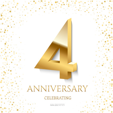 Golden 4th Anniversary Celebrating text and confetti on white background. Vector celebration 4 anniversary event template. Ilustracja
