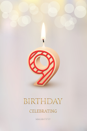 Burning number 9 birthday candle with birthday celebration text on light blurred background. Vector nineth birthday invitation template. Ilustracja