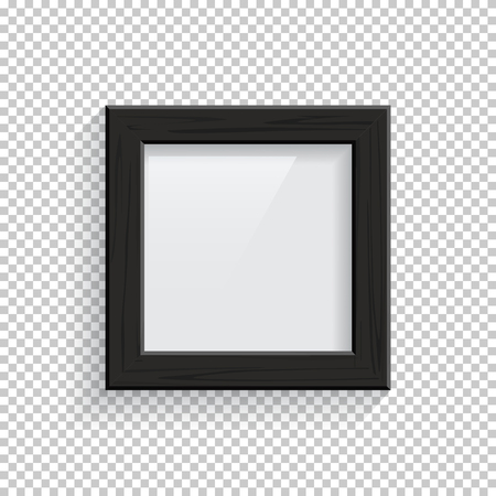 Square black wooden picture or photo frame isolated on transparent background. Vector design element.